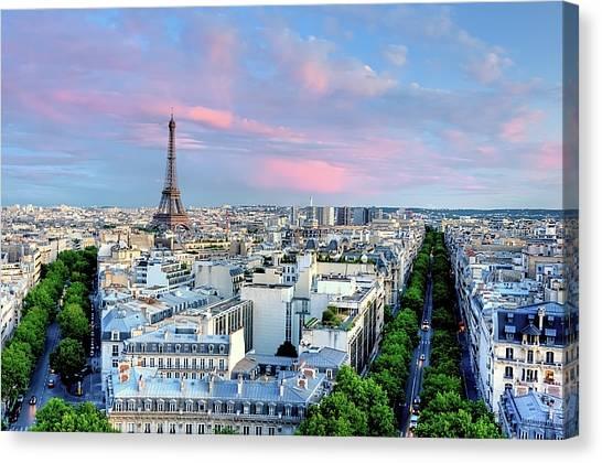 Paris Canvas Print - Eiffel Tower At Sunset by Shaadi Faris
