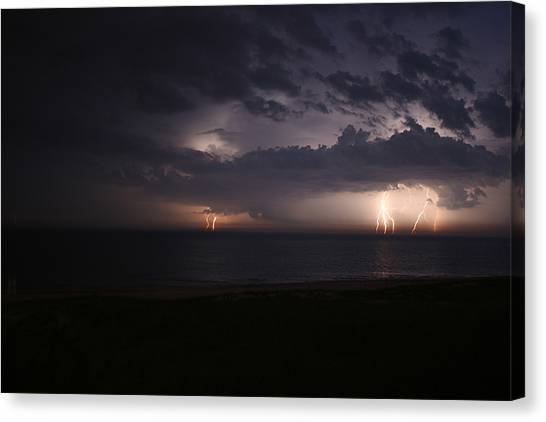 Electrical Storm Over Lake Michigan Canvas Print by Christopher Purcell