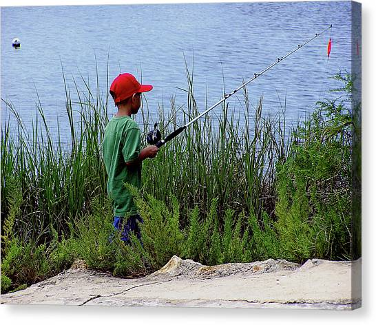 Fishing At Hickory Mound Canvas Print