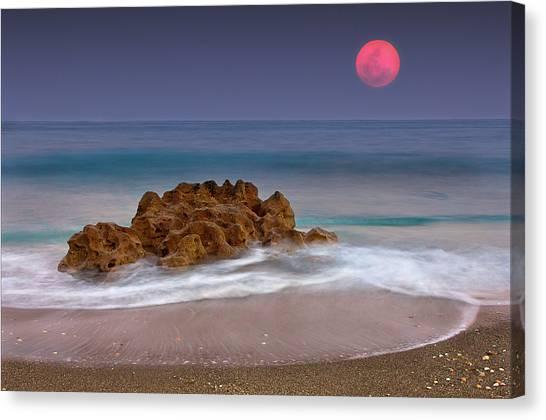 Moonlit Canvas Print - Full Moon Over Ocean And Rocks by Melinda Moore
