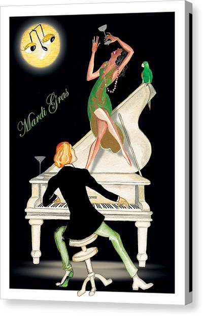 Girl Dancing On Piano Canvas Print