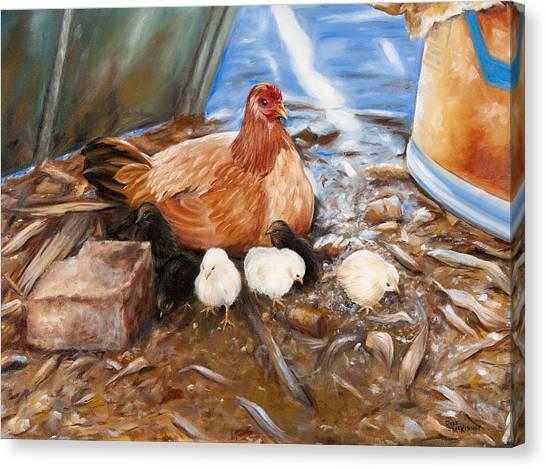Hen And Biddies Canvas Print
