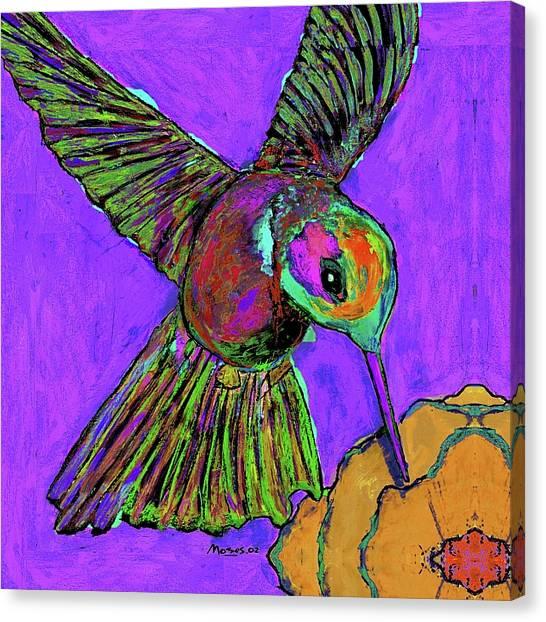 Hummingbird On Purple Canvas Print