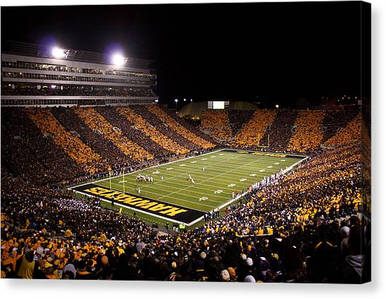 University Of Iowa Canvas Print - Iowa Black And Gold Stripes At Kinnick Stadium by Justin Scott