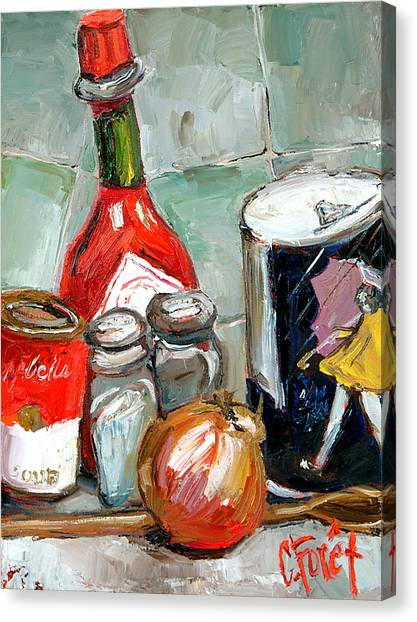 Hot Sauce Canvas Print - Kitchen Counter by Carole Foret