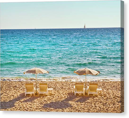 Sands Canvas Print - La Croisette Beach, Cannes, Cote D'azur, France by John Harper