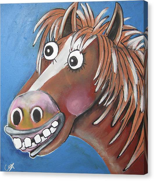 Funny Horses Canvas Print - Mr Horse by Caroline Peacock