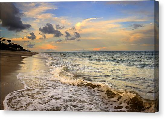 Orange Glowing In The Pacific Ocean Canvas Print