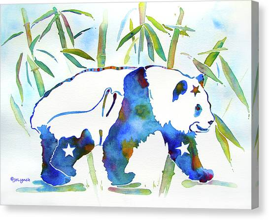 Panda Bear With Stars In Blue Canvas Print