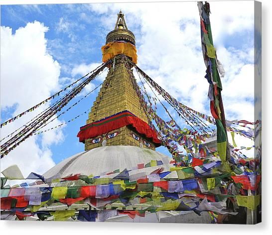 Pray Flags Boudhanath Kathmandu Canvas Print