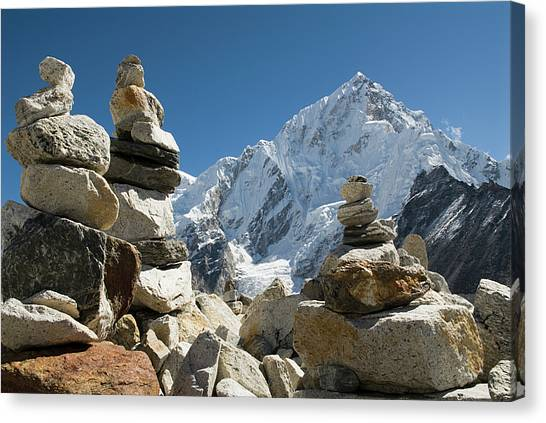 Himalayas Canvas Print - Rock Piles In The Himalayas by Shanna Baker