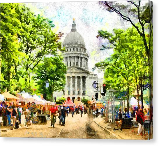 Capitol Building Canvas Print - Saturday In Madison by Anthony Caruso