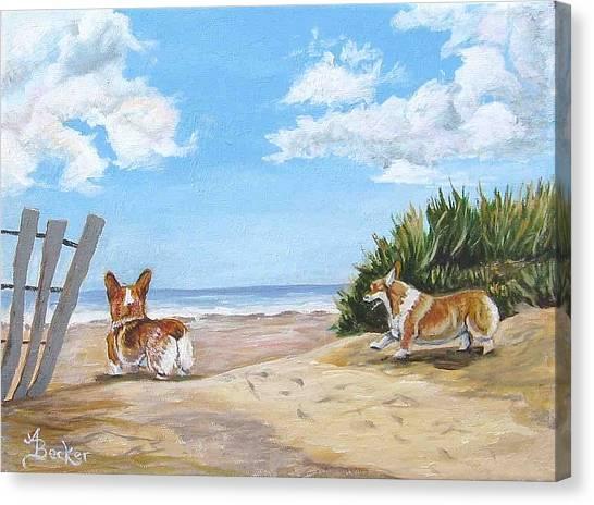 Seaside Romp Canvas Print by Ann Becker