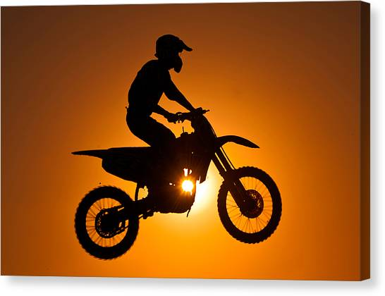 Kuwait Canvas Print - Silhouette Of Motocross At Sunset by Shahbaz Hussain's Photos