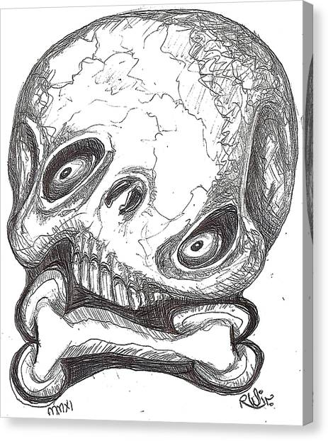 Skullnbone Twisted Canvas Print by Robert Wolverton Jr