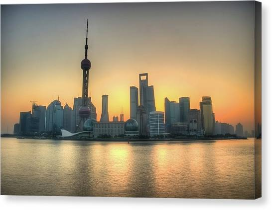 Bund Canvas Print - Skyline At Sunrise by Photo by Dan Goldberger