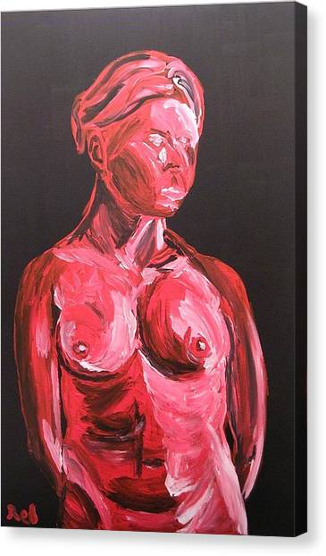 Standing Nude In Red Canvas Print