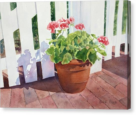 Sunny Day Geraniums Canvas Print by Bobbi Price
