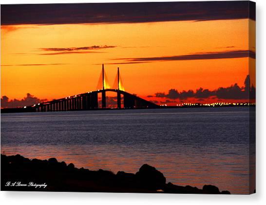 Sunset Over The Skyway Bridge Canvas Print