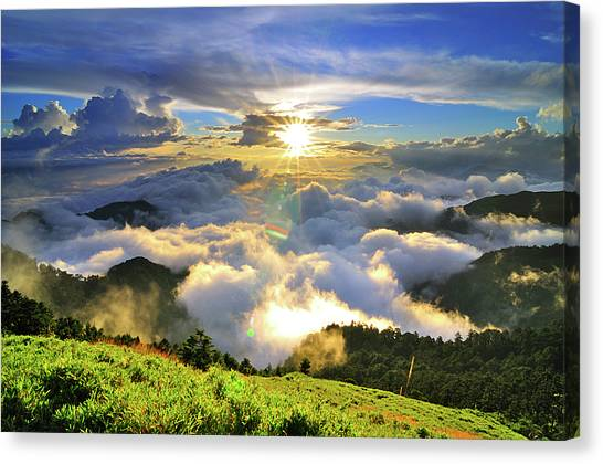 Mountain Sunset Canvas Print - Sunset With Clouds by Photo by Vincent Ting