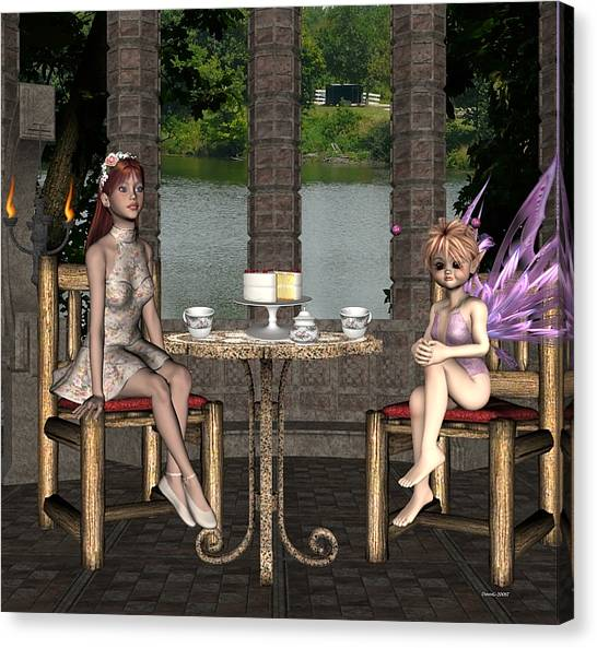 Two For Tea Canvas Print by Morning Dew