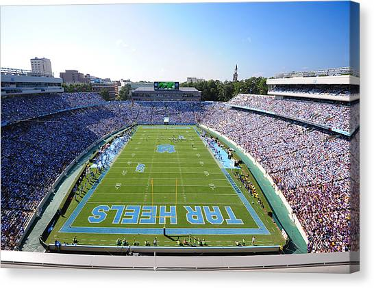 Chapel Hill Canvas Print - Unc Kenan Stadium Endzone View by Replay Photos