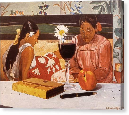 Wine Glass And Gauguin Canvas Print by Daniel Montoya