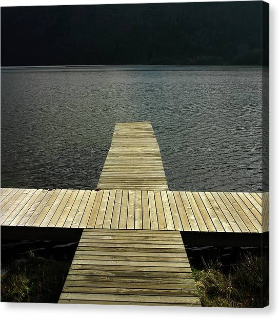 Pontoon Canvas Print - Wooden Pontoon by Bernard Jaubert