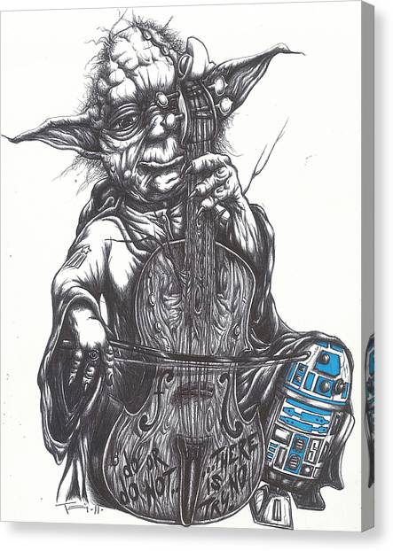 Cellos Canvas Print - Yoda Soothes Baby R2 With The Charm Of His Homegrown Cello by Tai Taeoalii