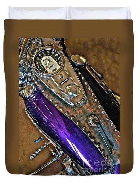 1953 Purple Harley Panhead Duvet Cover