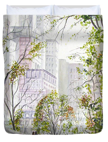 Central Park Stroll Duvet Cover by Clara Sue Beym