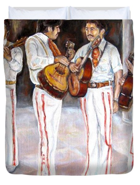 Duvet Cover featuring the painting Mariachi  Musicians by Carole Spandau