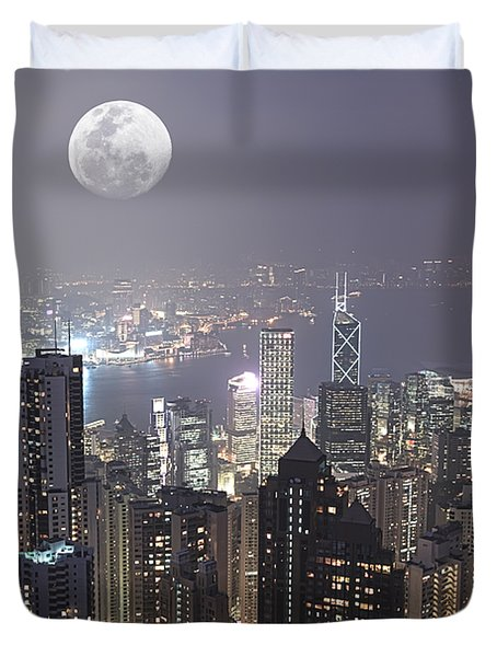 Hongkong Duvet Cover by MotHaiBaPhoto Prints