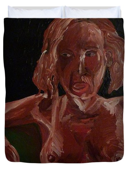 Duvet Cover featuring the painting Seated Nude by Joshua Redman