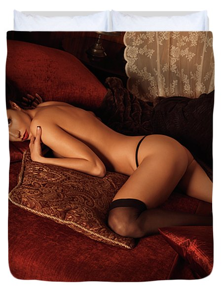Sexy Young Woman Lying On A Bed Duvet Cover by Oleksiy Maksymenko