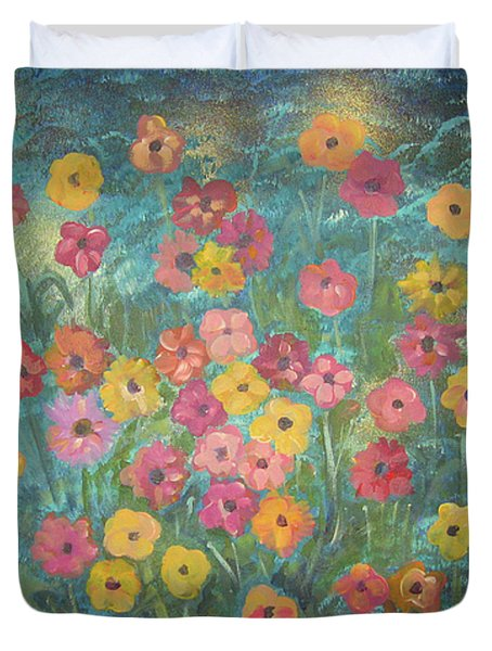 A Field Of Flowers Duvet Cover by John Keaton