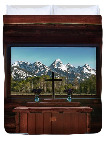 A Pew With A View Duvet Cover by Sandra Bronstein