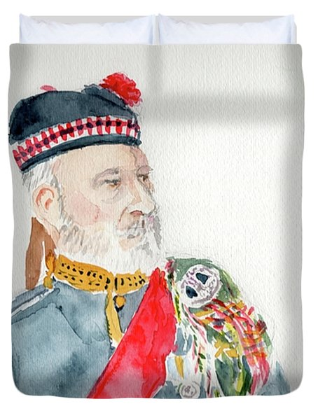 Duvet Cover featuring the painting A Scottish Soldier by Yoshiko Mishina