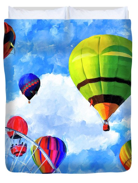 Duvet Cover featuring the mixed media Aerial Birth by Mark Tisdale