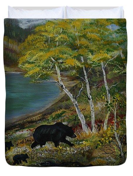 Bear Country Duvet Cover by Leslie Allen