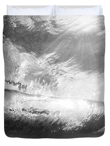 Black And White View Under Wave Duvet Cover by MakenaStockMedia - Printscapes