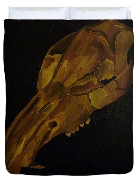Duvet Cover featuring the painting Boar's Skull No. 3 by Joshua Redman
