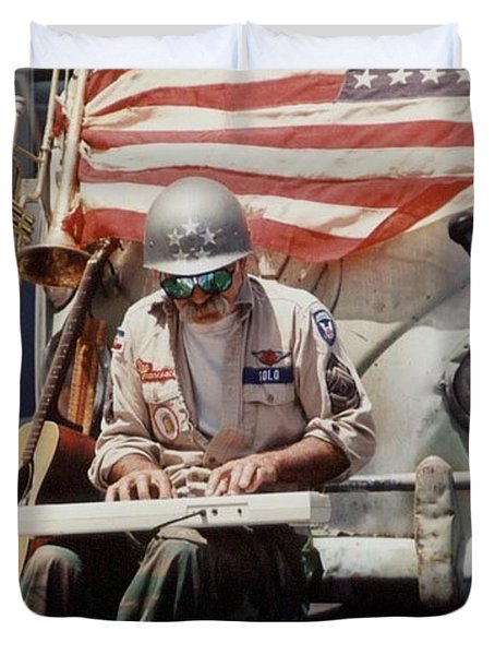 Duvet Cover featuring the photograph Born In The Usa by Mary-Lee Sanders