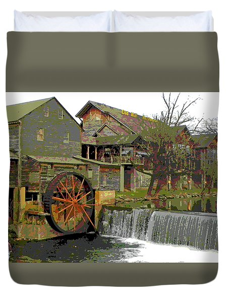 Duvet Cover featuring the photograph By The Old Mill Stream by Larry Bishop
