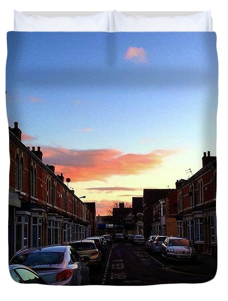 Cartoon Skies Over Middlesbrough Today Duvet Cover