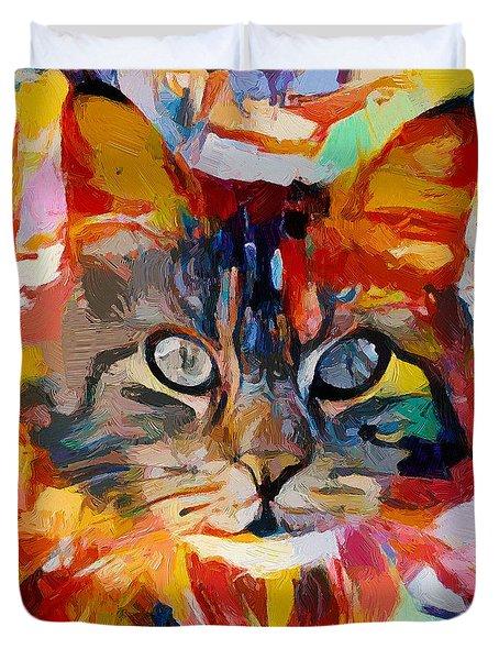 Cat In Fire Duvet Cover