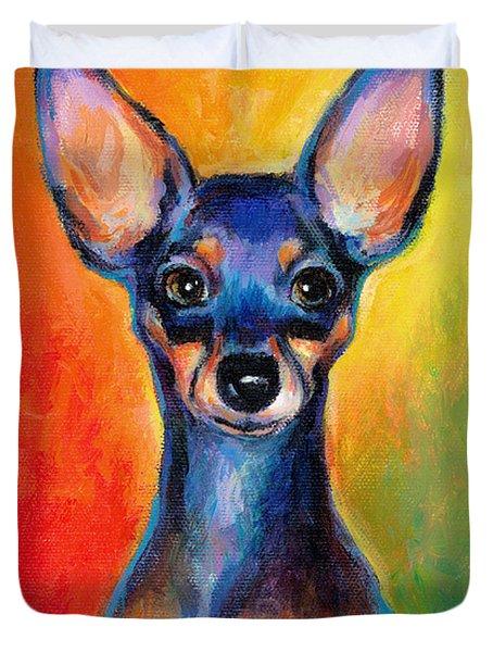 Contemporary Colorful Chihuahua Chiuaua Painting Duvet Cover by Svetlana Novikova