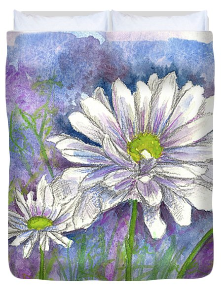 Duvet Cover featuring the painting Daisy Three by Cathie Richardson