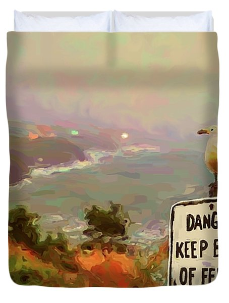 Depoe Bay Security Guard Duvet Cover by Methune Hively