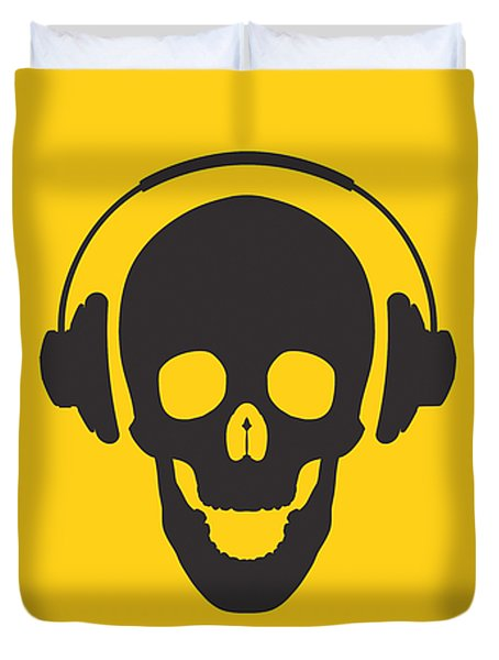 Dj Skeleton Duvet Cover by Pixel Chimp